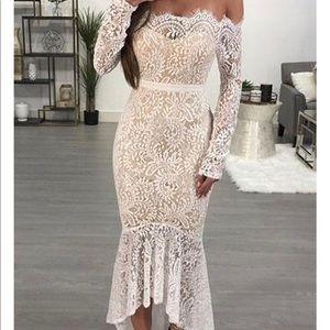 Lace off the shoulder trumpet dress